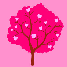 Vector Abstract Pink Tree With Hearts On Pink Background