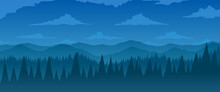 Vector Background. Fir Forest In Hilly Mountains With Meadows.