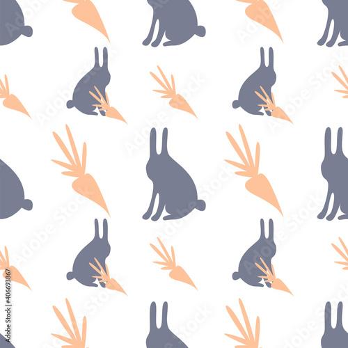 Fotografie, Obraz Seamless pattern cartoon style gray hares with carrots