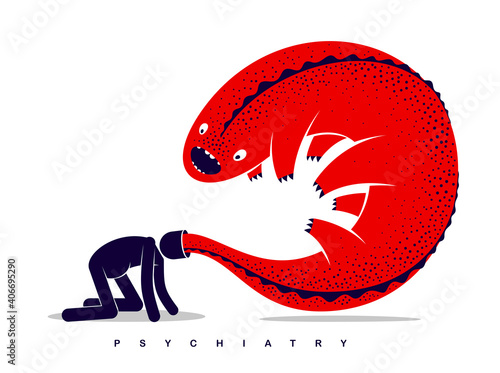 Fototapeta Psychical problems such as phobia psychosis schizophrenia hallucinations vector concept illustration in flat trendy style, psychiatry and psychology allegory, man with monster from his head