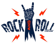Rock Hand Sign With Lightning Bolts, Hot Music Rock And Roll Gesture, Hard Rock Festival Concert Or Club, Vector Label Emblem Or Logo, Musical Instruments Shop Or Recording Studio.