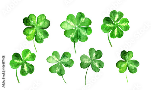 Obraz Set of trefoil, clover leaves with 3, 4 four leaf. Watercolor collection for St Patrick day. Celtic, irish symbol of luck - fototapety do salonu