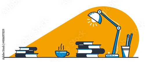 Education or intellectual work concept work desk with books vector flat illustration isolated, study or job, freelance worker workspace, comfortable workplace.