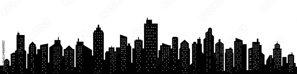 Fototapeta City skyline silhouette. City landscape template. Urban landscape. Vector illustration.