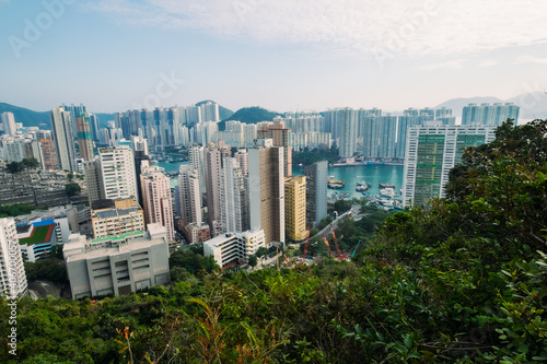 Fototapeta Panoramic Aerial view over Tin wan, Aberdeen and Ap Lei Chau district seen from Hong Kong Trail sec