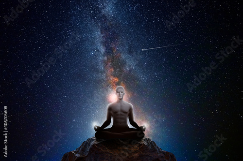 Man with universe background © quickshooting