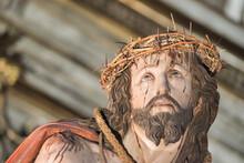 Detalle Cristo Camino Del Calvario En La Semana Santa De Valladolid. Obra De Melchor De La Peña En 1629 Y Renovado Por Juan De Avila En 1679