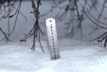 Ruler With Scale.Yardstick Measuring The Depth Of Snow.