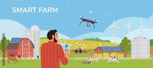 Fototapeta Smart Farm Horizontal Vector Banner. Farmer Holding Tablet Managing Farm With Mobile App. Rural Scenery With Solar Panels, Windmills, Drones, Cows, Tractor. obraz