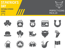 St. Patricks Day Glyph Icon Set, Holiday Collection, Vector Graphics, Logo Illustrations, St. Patricks Day Vector Icons, Celebration Signs, Solid Pictograms, Editable Stroke.