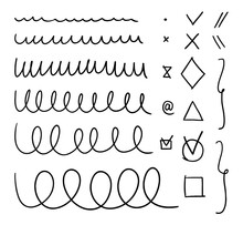 A Set Of Varied Wavy Lines. Collection Of Hand-drawn Graphic Brushes. Vector Stock Illustration Of Highlight Lines And Checkmarks Isolated On White Background.