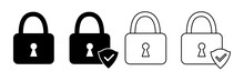 Lock Icon, Set, Security Vector Icon Collection. Сryptocurrency Protection Signs. Padlocks Silhouettes With Shield And Check Mark. Web Icons. Vector Illustration.
