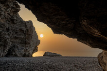 Sunrise Over The Sea As Seen From The Rock Cave
