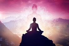 Meditation In Yoga Lotus Position. Mindfulness And Self Awereness Practice. Silhiuette Of Meditating Person On Beautifull Landscape.