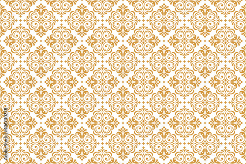Fototapeta Wallpaper in the style of Baroque. Seamless vector background. White and gold floral ornament. Graphic pattern for fabric, wallpaper, packaging. Ornate Damask flower ornament obraz