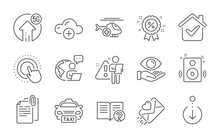 Speakers, Cloud Computing And Health Eye Line Icons Set. Discount, Click Hand And Scroll Down Signs. Medical Helicopter, Help And 5g Upload Symbols. Love Letter, Document Attachment And Taxi. Vector