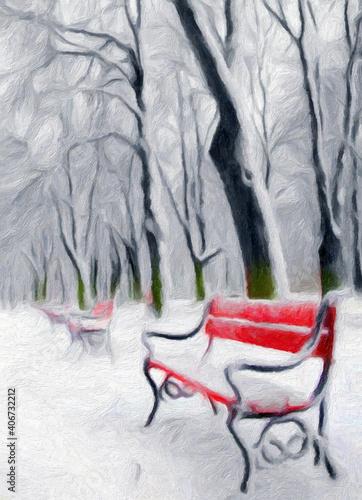 Fototapety, obrazy: Impressionnisme, surréalisme.. Arbres morts et bancs de jardin rouges dans un parc en hiver