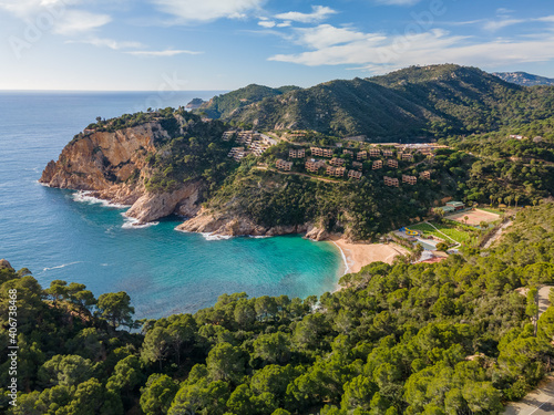Fotografiet Tossa de mar girona europe spain beach turquoise blue water without people costa