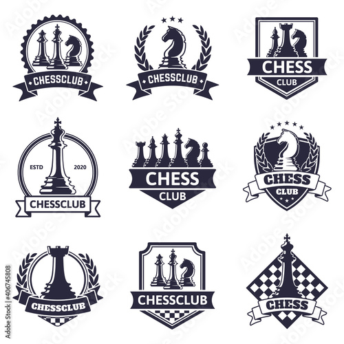 Chess club emblem Fotobehang
