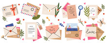 Mail Envelopes. Post Cards, Envelopes, Post Stamps, Craft Paper Letters And Mail Envelopes. Postage Cards, Cute Envelopes Vector Illustration Set. Love Messages With Stickers And Plants