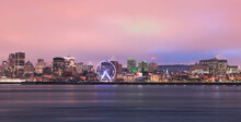Montreal Skyline And St Lawrence River At Dusk In Winter, Quebec, Canada