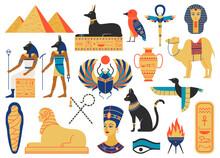 Ancient Egypt Symbols. Mythological Creatures, Egypt Gods, Pyramid And Sacred Animals. Egypt Religion And Mythology Symbols Vector Illustration Set As Scarab Beetle, Sphinx Monument