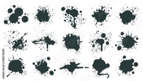 Fototapeta Ink drops. Paint splash, grunge liquid drop splashes, abstract artistic ink splatter. Black ink splashes vector illustration set. Isolated spray elements or blobs of different form on white obraz