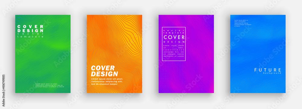 Fototapeta Minimal covers design. Colorfu line set. Color halftone gradients.