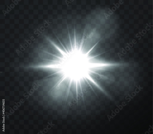 Fototapety, obrazy: Abstract transparent sunlight special lens flare light effect. Vector blur in motion glow glare. Isolated transparent background. Decor element. Horizontal star burst rays and spotlight.