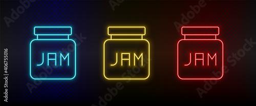 Tela Neon icon set jam. Set of red, blue, yellow neon vector icon