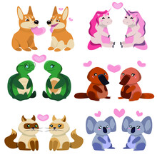 Cute Animals Valentine Set. Valentine's Day Concept Illustration With  Love Characters. Greeting Card With Cute Cartoon Little Valentine Animals. Vector Illustration