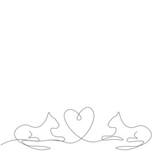 Valentines Day Background With Heart And Cats, Vector Illustration