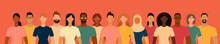 Diverse People Group. Flat Design Vector Illustration.