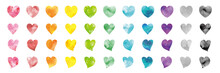 Vector Set Of Rainbow Watercolor Heart Shapes. 水彩のベクターハートセット