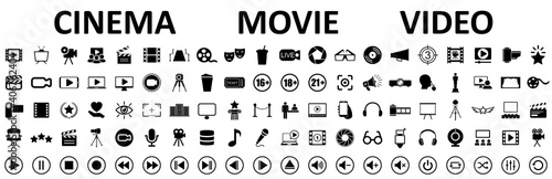 Fotografie, Tablou Set of 100 cinema, movie, video icons, collection film, tv sign - stock vector