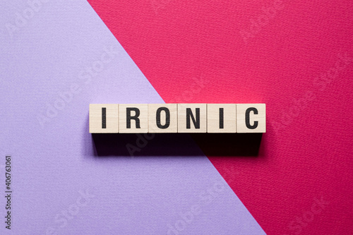 Ironic word concept on cubes