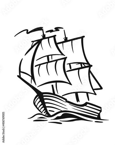 Vászonkép Ship with sail on waves