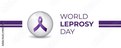 Fototapeta World Leprosy Day vector illustration with purple awareness ribbon inside transparent crystal ball