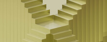 Abstract Gold Stair Case On Golden Background 3d Render Illustration