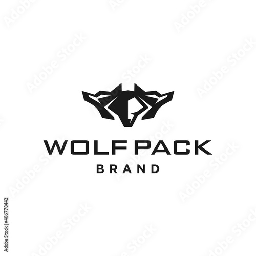 Fototapeta Wolfpack logo icon, three headed wolf modern mascot logo design