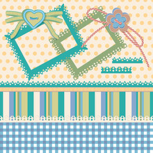 Collection Design Vector Elements For Scrapbook.Rectangular Frames With A Pattern, Buttons In The Shape Of A Flower And A Heart, Lace Ribbons, A  Pattern In A Cage, Stripes And Polka Dots.