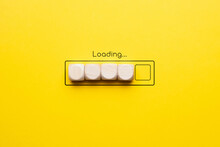 Loading Bar Concept Made Of Wooden Blocks Top View