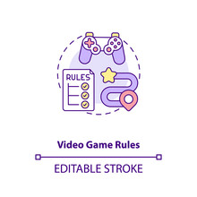 Video Game Rules Concept Icon. Video Game Design Components. Understand Your Target Audience. Target Audience Idea Thin Line Illustration. Vector Isolated Outline RGB Color Drawing. Editable Stroke
