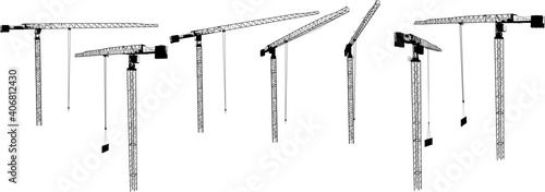 Foto seven industrial cranes isolated on white