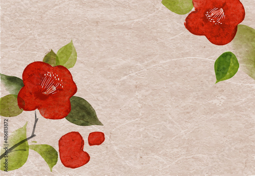 Red camelia flowers on vintage rice paper background Wallpaper Mural