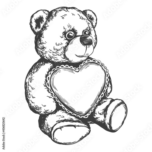 Fototapeta Teddy bear with a heart in paws hand drawn vector illustration realistic sketch