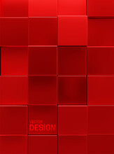 Geometric Background Of Red Square Shapes.