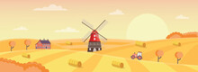 Rural Dutch Landscape With Windmill, Farmhouse And Tractor A Vector Illustration