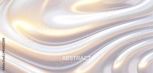 Fototapeta Pearlescent surface with wavy ripples. Vector 3d illustration. obraz