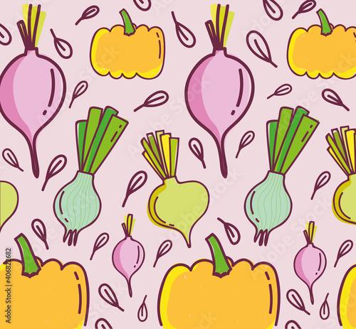 Fototapeta food pattern, pumpkin radish onion fresh vegetable, obraz